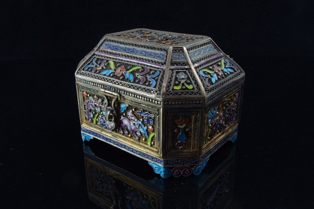 Chinese Enameled Silver box