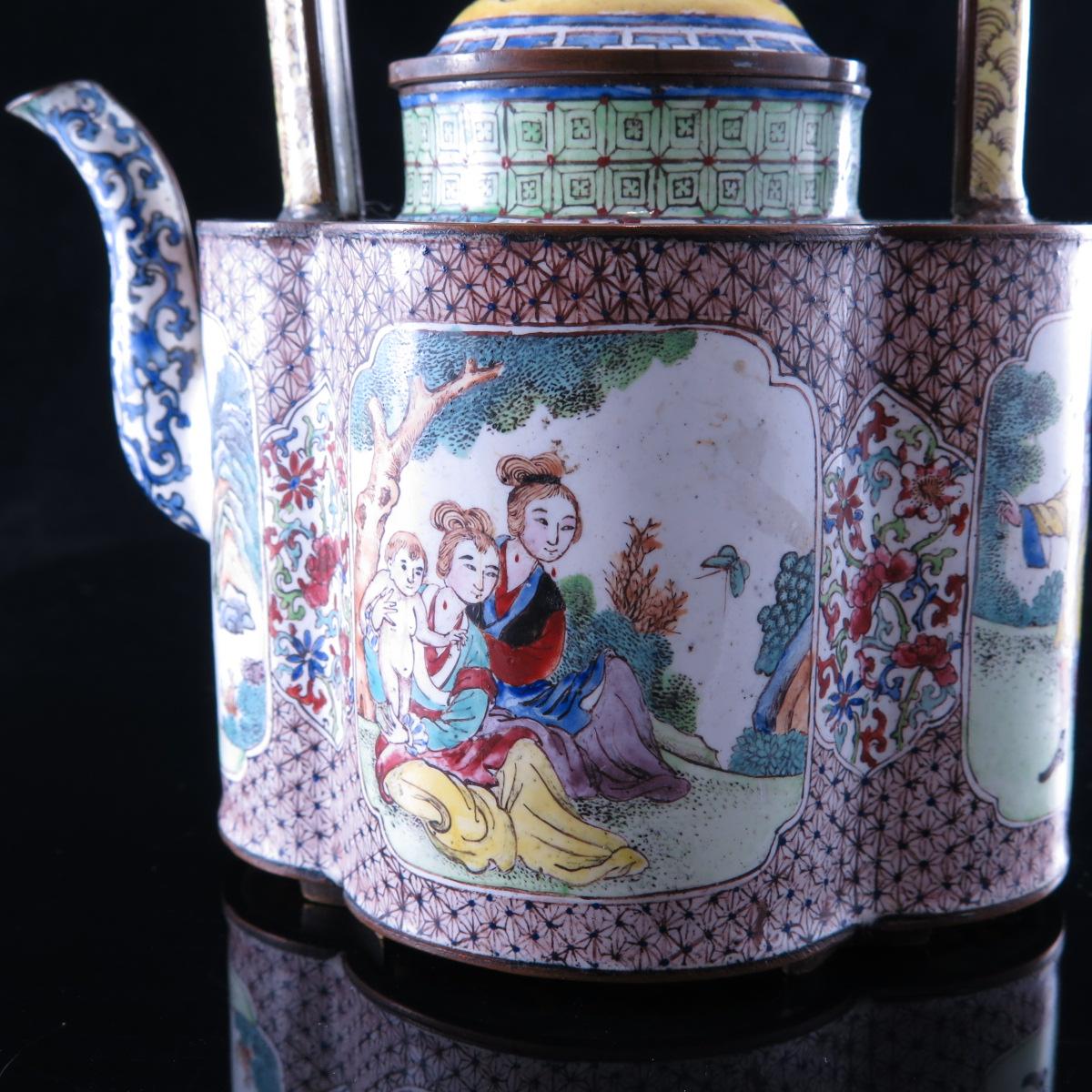 Canton Enamel Wine Pot