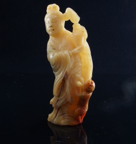 chinese hard stone carving of immortal with monkey