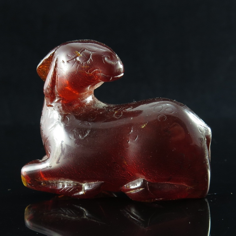 Amber Carving of a Deer